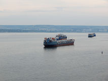 Oil tanker on the Volga River. Royalty Free Stock Images