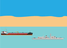 Oil Tanker and Warship Royalty Free Stock Photos