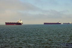 Oil tankers anchored in the Columbia rive Stock Images