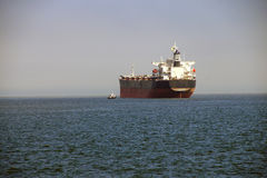 Oil tankers anchored in the Columbia rive Royalty Free Stock Image