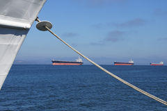 Oil tankers anchored in Columbia river Stock Photography