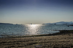 Oil tankers moving at twilight Royalty Free Stock Photos