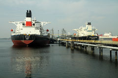 Oil tankers on a pier Stock Photography