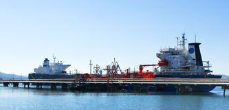 Oil tankers on a pier Royalty Free Stock Photography