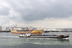 Oil tankers in the port of rotterdam Stock Photography