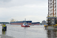 Oil tankers in the port of rotterdam Royalty Free Stock Photo