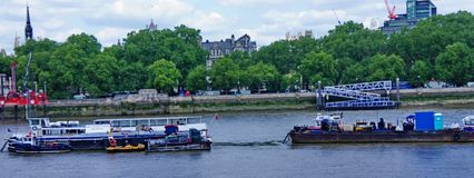 Oil tankers in thames river. A picture of Oil tankers,in thames river in London UK in a summer day of june Stock Image