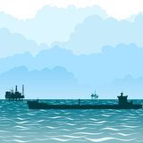 Oil tankers-1. Transportation of oil through the sea by sea. The illustration on a white background royalty free illustration