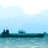 Oil tankers. Transportation of oil through the sea by sea. The illustration on a white background royalty free illustration