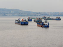 Oil tankers on the Volga River. Royalty Free Stock Images