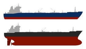 Oil tankerss set. Vector. Set of 2 oil tankers isolated white background. Vector illustration stock illustration