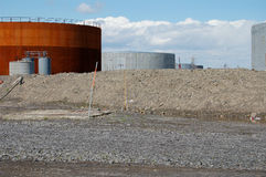 Oil tanks 1. Oil tanks in Montreal, Canada Royalty Free Stock Images