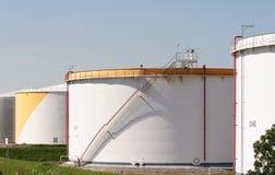 Oil tanks. White oil tanks in Rotterdam royalty free stock photo