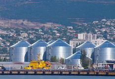 Oil tanks. Group of oil tank in port Royalty Free Stock Photo