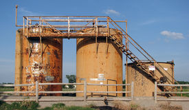 Oil tanks 2. Tanks at an oil drilling site Royalty Free Stock Photos