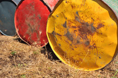 Oil tanks. In different colours Stock Photos