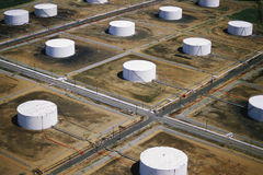 Oil tanks. Aerial view of field of oil tanks Royalty Free Stock Photo