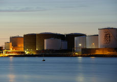Oil tanks. A late night Stock Photo