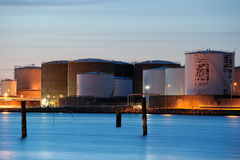 Oil tanks. A late night Stock Photography