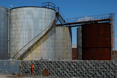 Oil tanks 3. Old oil tanks in Montreal, Canada. Camera: Nikon D50 Royalty Free Stock Image