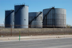 Oil tanks 4. Oil tanks in the middle of the afternoon Stock Photo