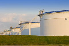 Oil tanks. In the evening light Royalty Free Stock Photo