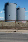 Oil tanks 5. Oil tanks in the middle of the afternoon Royalty Free Stock Photography