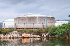 Oil tanks on Black sea coast in Varna port Royalty Free Stock Photography