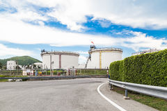 Oil tanks with blue sky Royalty Free Stock Images
