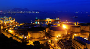 Oil tanks at night Royalty Free Stock Photography