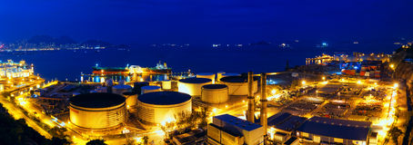 Oil tanks at night Stock Photo