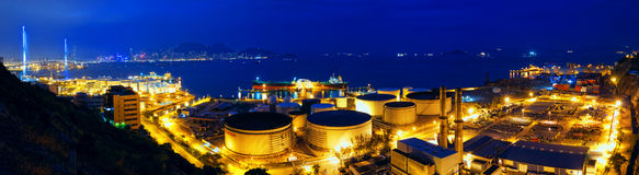 Oil tanks at night Royalty Free Stock Photo