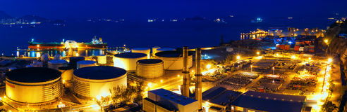Oil tanks at night Stock Photography