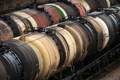 Oil tanks on a railroad stock images