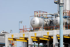 Oil tanks in a refinery. Industrial view of oil petrochemical refinery tanks Stock Photos