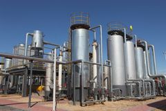 Oil tanks in a refinery Royalty Free Stock Photos