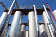 Oil tanks in a refinery Stock Image