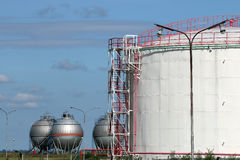 Oil tanks refinery Stock Images