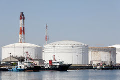 Oil tanks in sea port Royalty Free Stock Photo