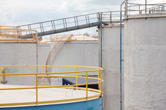 Oil Tanks with Stairs and Gangplank Royalty Free Stock Photography