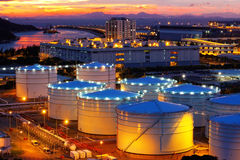 Oil tanks at sunset Royalty Free Stock Images