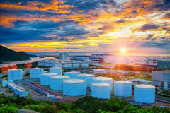 Oil tanks at sunset Royalty Free Stock Photography