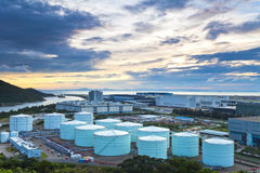 Oil tanks at twlight Stock Photo