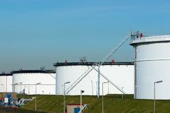 Oil terminal. A site with storage capacity for crude oil and petrol Royalty Free Stock Images