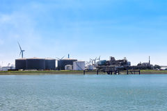 Oil terminal in the Dutch port. Royalty Free Stock Image