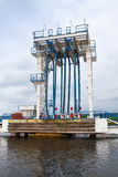 Oil terminal. Equipment for tankers loading Royalty Free Stock Photos