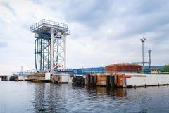 Oil terminal. Equipment for tankers loading, Varna Stock Image
