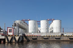 Oil terminal. Oil loading terminal on quay Stock Photography