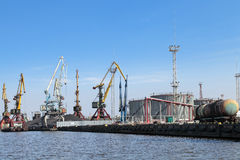 Oil terminal. Oil loading terminal on quay in Kaliningrad city Royalty Free Stock Photo