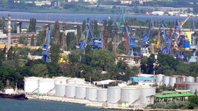 Oil terminal in the port of Varna in Bulgaria. Varna - the sea capital of Bulgaria, the third largest city in the country. The city was founded by the ancient stock video footage